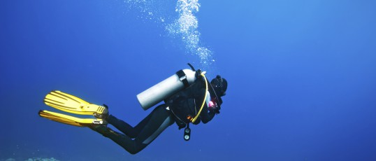 Scuba diver swimming under water and examines the seabed